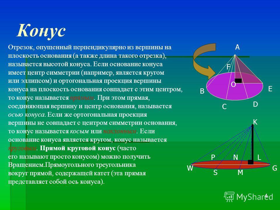 3 Конус Прямой круговой конус Конус тело, полученное объединением всех лучей, исходящих из одной точки (вершины конуса) и проходящих через плоскую поверхность. Иногда конусом называют часть такого тела, полученную объединением всех отрезков, соединяю
