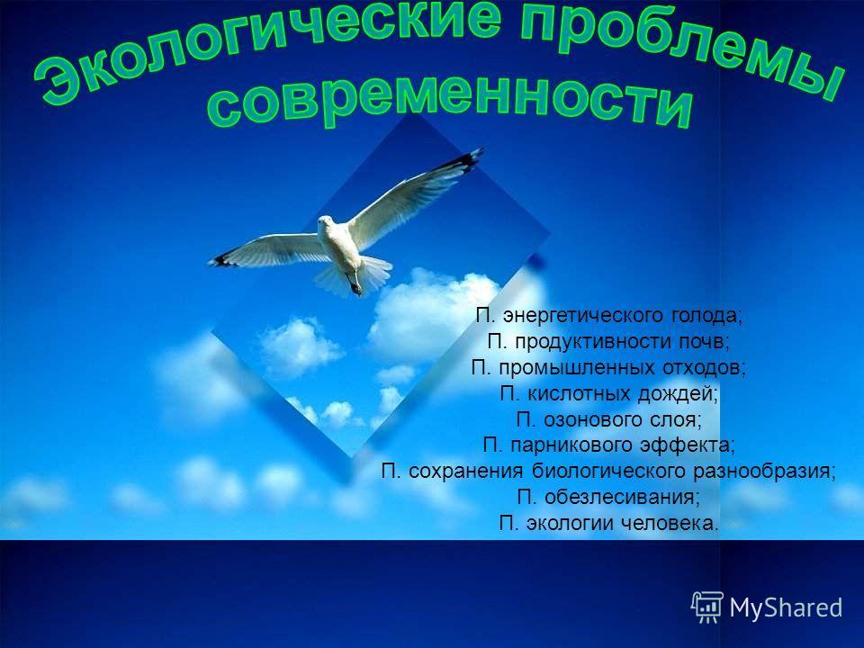 П. энергетического голода; П. продуктивности почв; П. промышленных отходов; П. кислотных дождей; П. озонового слоя; П. парникового эффекта; П. сохранения биологического разнообразия; П. обезлесивания; П. экологии человека.