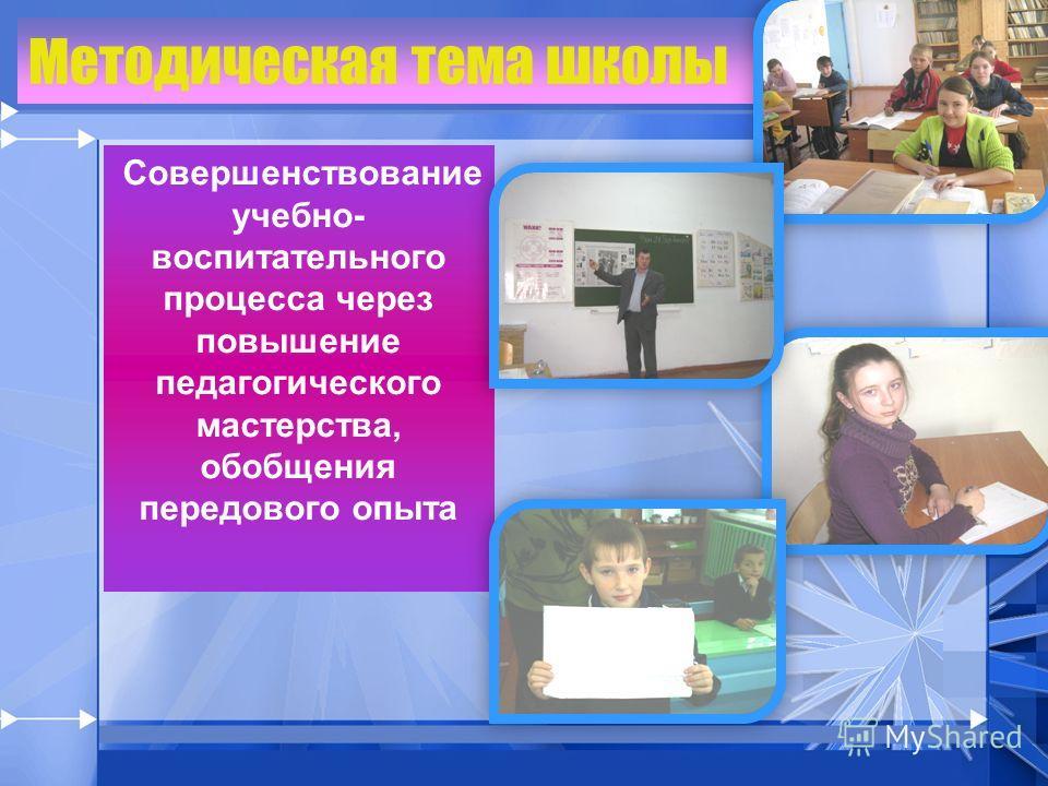 Методическая тема школы Совершенствование учебно- воспитательного процесса через повышение педагогического мастерства, обобщения передового опыта