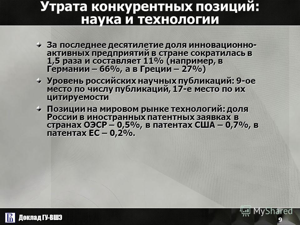 Доклад ГУ-ВШЭ 9 Утрата конкурентных позиций: наука и технологии За последнее десятилетие доля инновационно- активных предприятий в стране сократилась в 1,5 раза и составляет 11% (например, в Германии – 66%, а в Греции – 27%) Уровень российских научны
