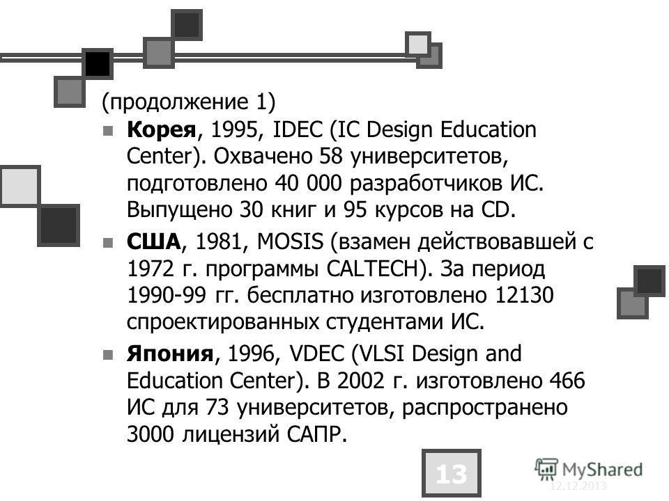 12.12.2013 13 (продолжение 1) Корея, 1995, IDEC (IC Design Education Center). Охвачено 58 университетов, подготовлено 40 000 разработчиков ИС. Выпущено 30 книг и 95 курсов на CD. США, 1981, MOSIS (взамен действовавшей с 1972 г. программы CALTECH). За