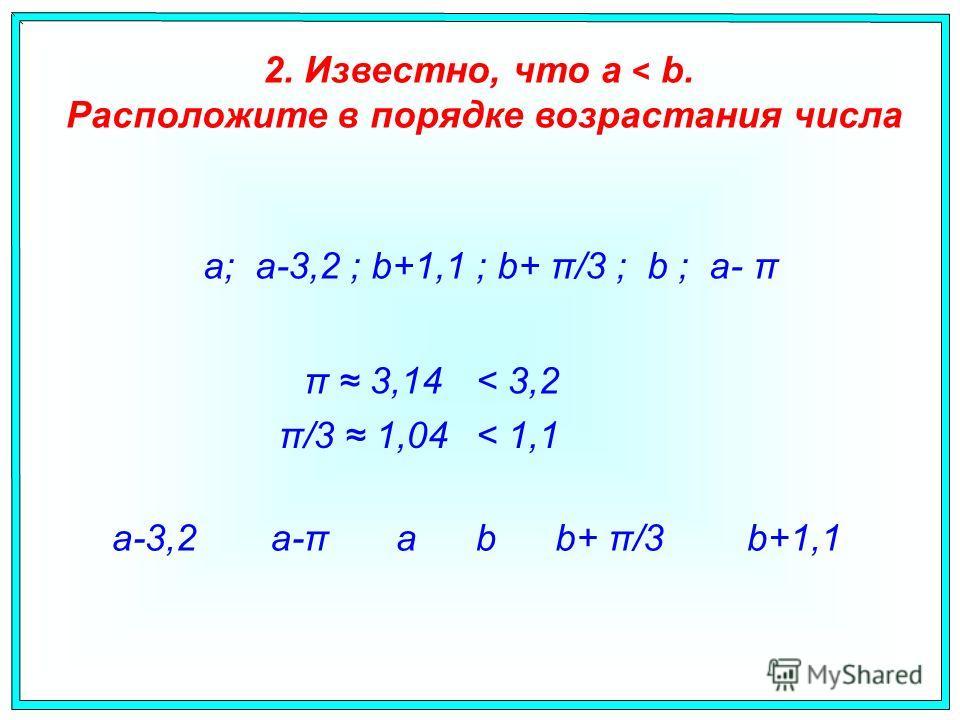a; a-3,2 ; b+1,1 ; b+ π/3 ; b ; a- π 2. Известно, что a < b. Расположите в порядке возрастания числа aba-πa-3,2b+1,1b+ π/3 π 3,14 π/3 1,04 < 3,2 < 1,1