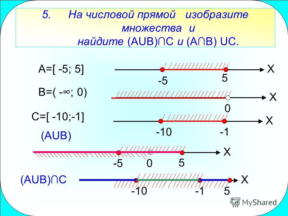 5.На числовой прямой изобразите множества и найдите (AUB)C и (AB) UC. A=[ -5; 5]X -5 5 B=( -; 0) X 0 C=[ -10;-1] X -10 X 5 0 -5 (AUB)C (AUB) X -10 5