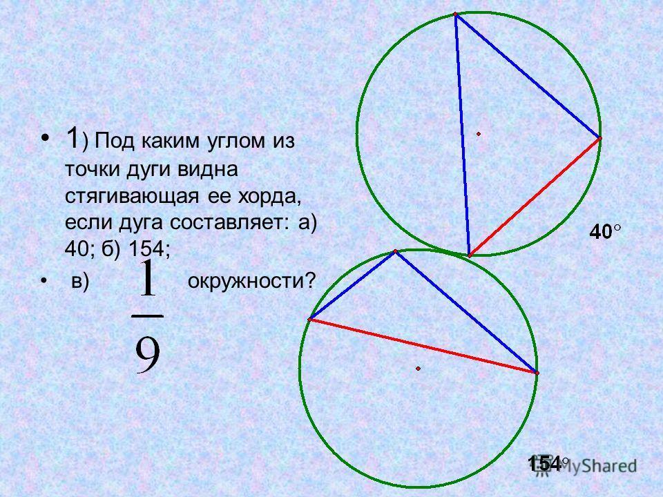 1 ) Под каким углом из точки дуги видна стягивающая ее хорда, если дуга составляет: а) 40; б) 154; в) окружности?