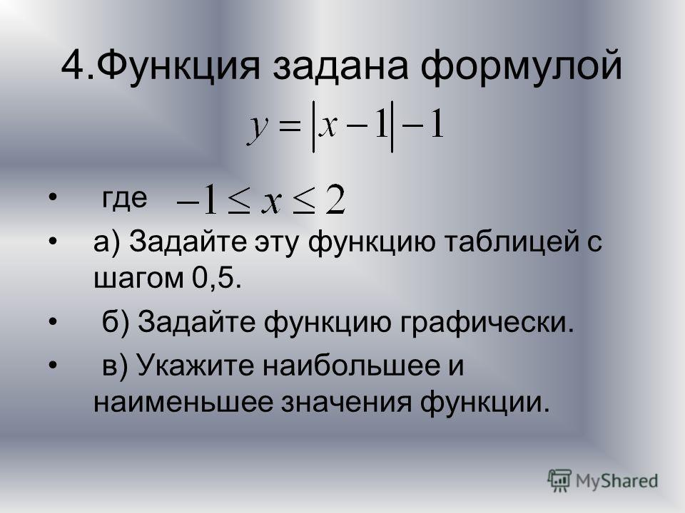 4.Функция задана формулой где а) Задайте эту функцию таблицей с шагом 0,5. б) Задайте функцию графически. в) Укажите наибольшее и наименьшее значения функции.