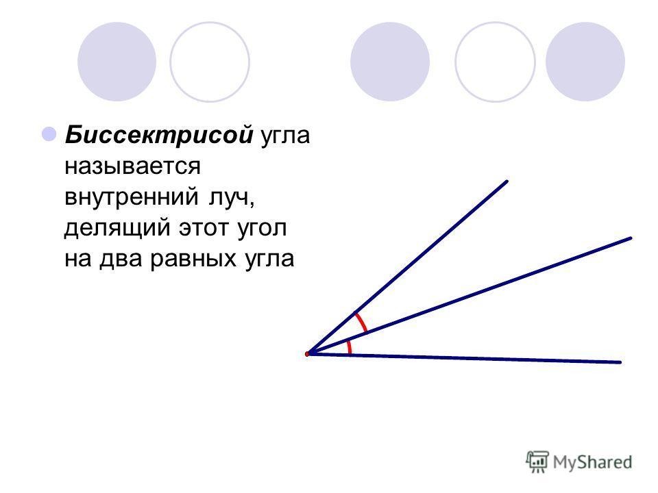 Биссектрисой угла называется внутренний луч, делящий этот угол на два равных угла