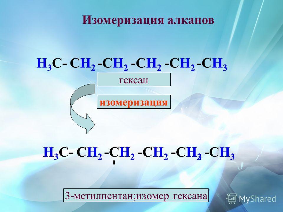 Изомеризация алканов Н 3 С-СH2СH2 -СH2-СH2 -СH2-СH2 -СH2-СH2 -СH3-СH3 изомеризация гексан Н 3 С-СH2СH2 -СH2-СH2 -СH2-СH2 -СH2-СH2 СH3СH3 -СH-СH--СH 3 - 3-метилпентан;изомер гексана