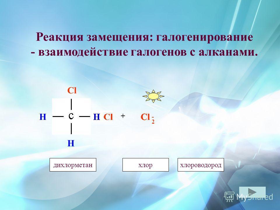 Реакция замещения: галогенирование - взаимодействие галогенов с алканами. Cl H H H + - 2 хлорметанхлордихлорметанхлороводород