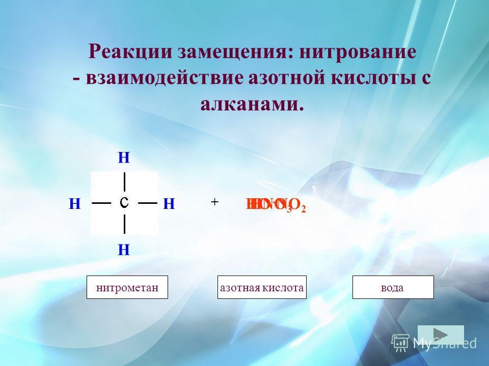 Реакции замещения: нитрование - взаимодействие азотной кислоты с алканами. H H H H + HO - HNO 3 метаназотная кислотаметанвода NO 2 нитрометан