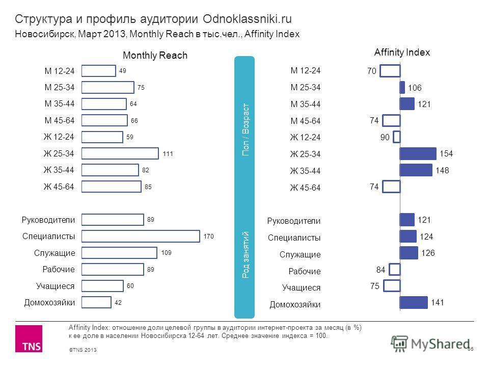 ©TNS 2013 X AXIS LOWER LIMIT UPPER LIMIT CHART TOP Y AXIS LIMIT Структура и профиль аудитории Odnoklassniki.ru 86 Affinity Index: отношение доли целевой группы в аудитории интернет-проекта за месяц (в %) к ее доле в населении Новосибирска 12-64 лет.