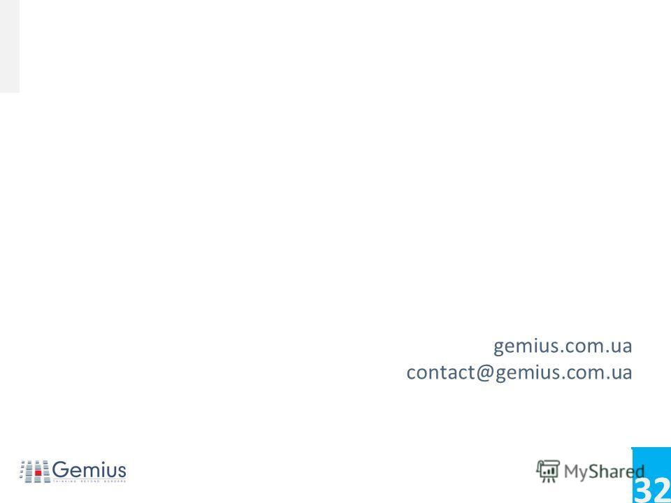 32 Conference name Footer/footnotes for extra info gemius.com.ua contact@gemius.com.ua. Исследование GemiusAudiens Август 2012Исследование GemiusAudience Август 2012