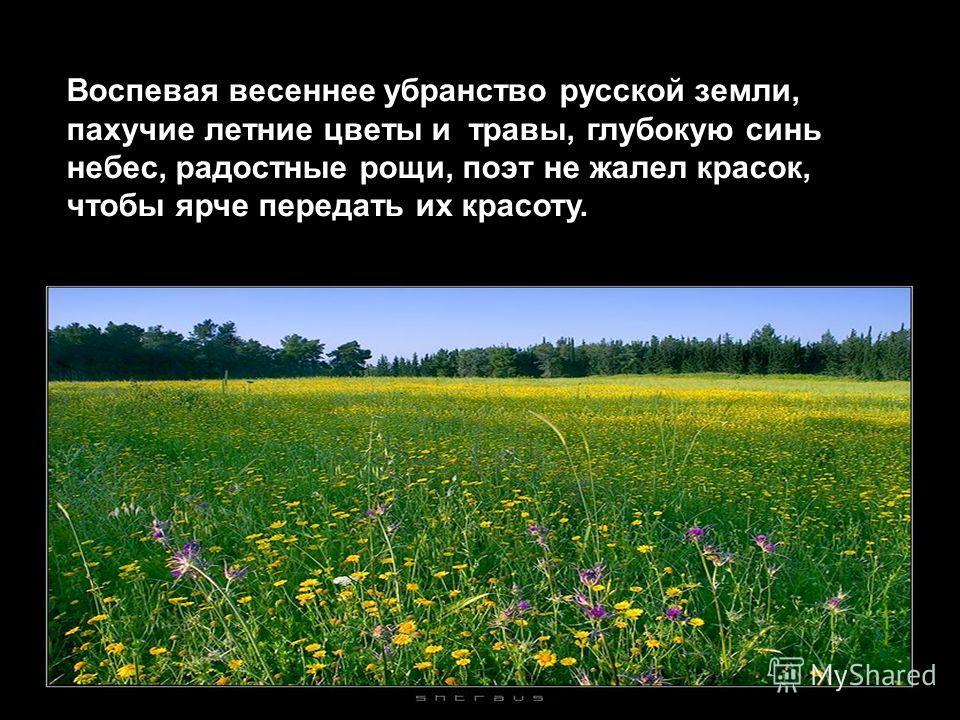 Воспевая весеннее убранство русской земли, пахучие летние цветы и травы, глубокую синь небес, радостные рощи, поэт не жалел красок, чтобы ярче передать их красоту.