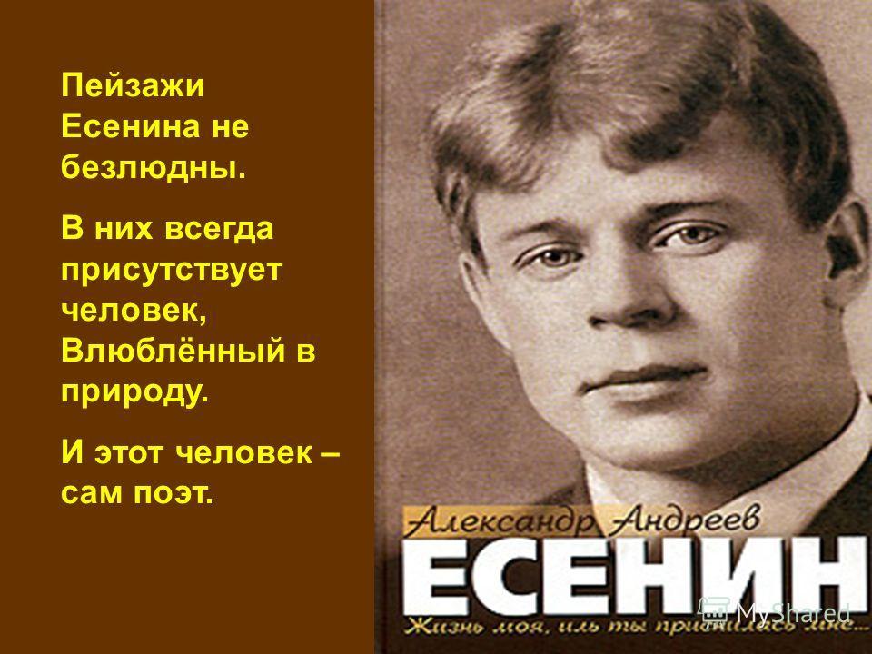 Пейзажи Есенина не безлюдны. В них всегда присутствует человек, Влюблённый в природу. И этот человек – сам поэт.