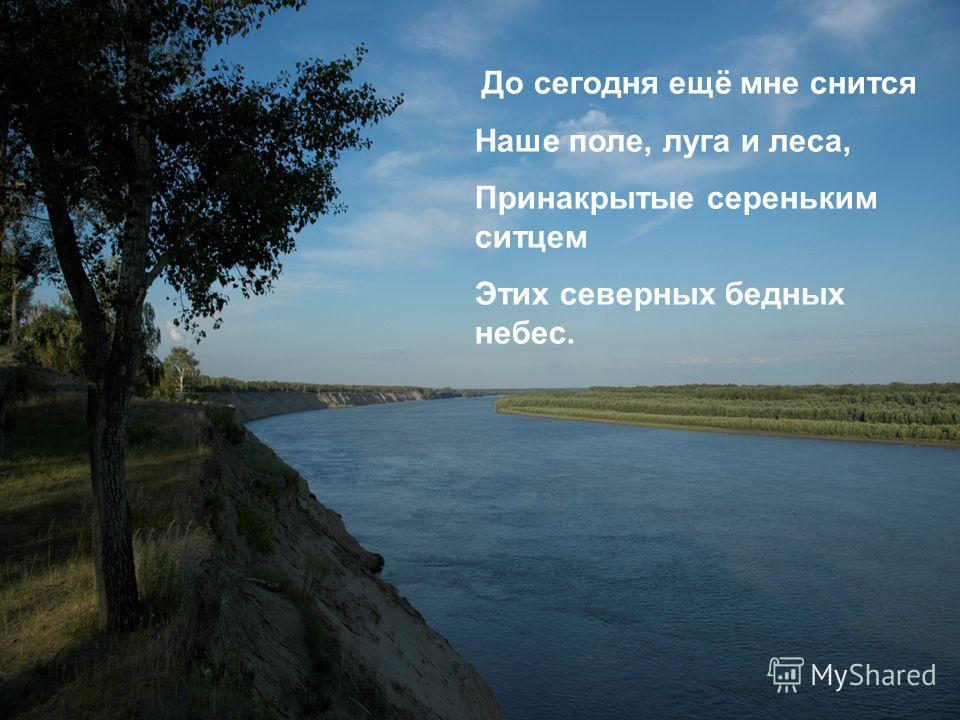 До сегодня ещё мне снится Наше поле, луга и леса, Принакрытые сереньким ситцем Этих северных бедных небес.