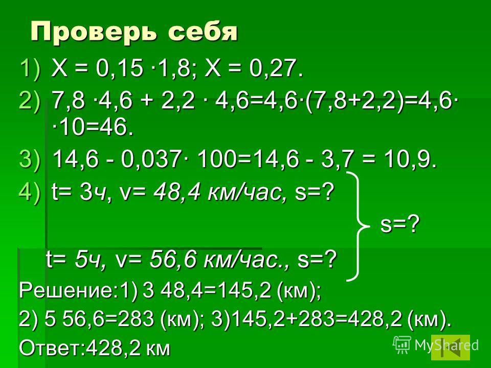Проверь себя 1)Х = 0,15 ·1,8; Х = 0,27. 2)7,8 4,6 + 2,2 4,6=4,6·(7,8+2,2)=4,6· ·10=46. 3)1 4,6 - 0,037 100=14,6 - 3,7 = 10,9. 4)t = 3ч, v= 48,4 км/час, s=? s=? t= 5ч, v= 56,6 км/час., s=? Решение:1) 3 48,4=145,2 (км); 2) 5 56,6=283 (км); 3)145,2+283=