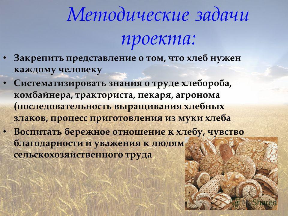 Методические задачи проекта: Закрепить представление о том, что хлеб нужен каждому человеку Систематизировать знания о труде хлебороба, комбайнера, тракториста, пекаря, агронома (последовательность выращивания хлебных злаков, процесс приготовления из