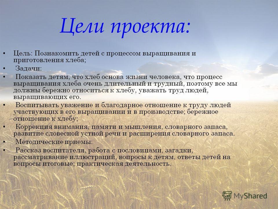 Цели проекта: Цель: Познакомить детей с процессом выращивания и приготовления хлеба; Задачи: Показать детям, что хлеб основа жизни человека, что процесс выращивания хлеба очень длительный и трудный, поэтому все мы должны бережно относиться к хлебу, у