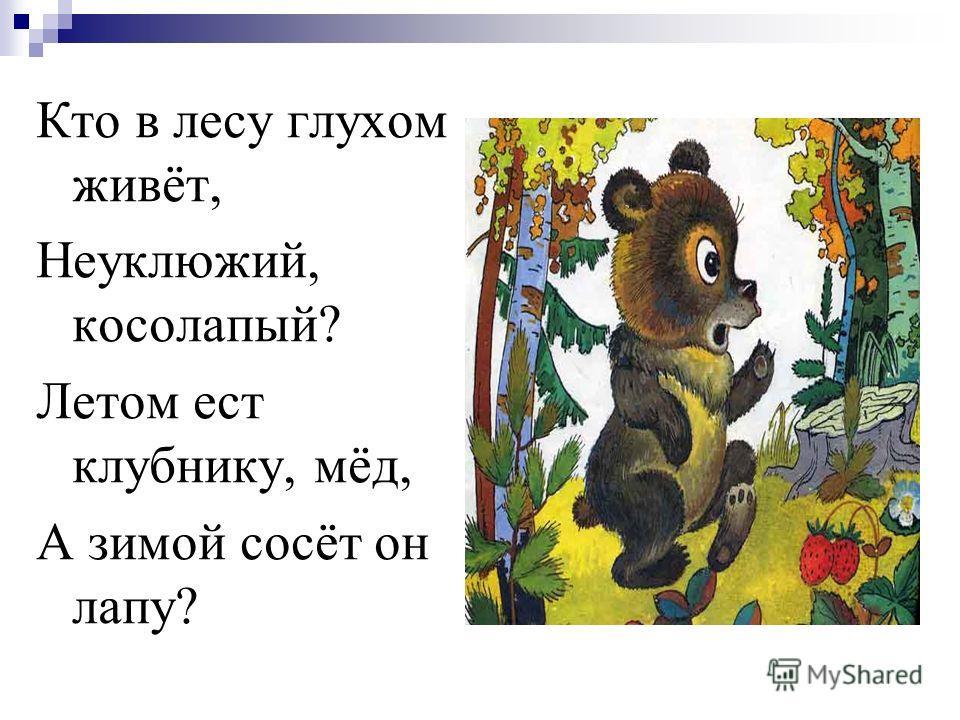 Кто в лесу глухом живёт, Неуклюжий, косолапый? Летом ест клубнику, мёд, А зимой сосёт он лапу?