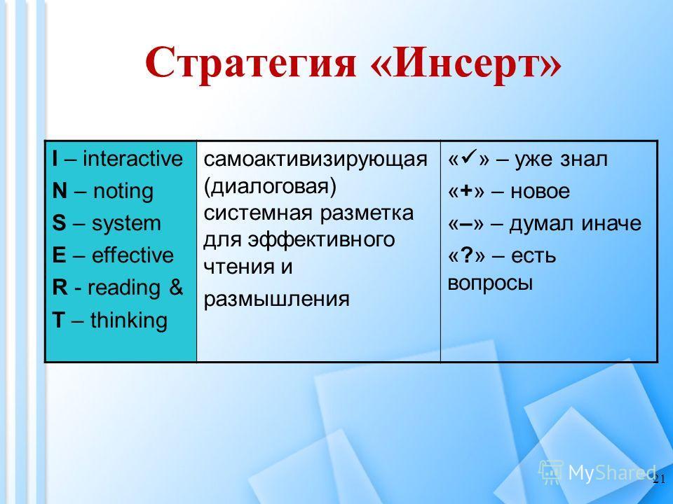 Стратегия «Инсерт» 21 I – interactive N – noting S – system E – effective R - reading & T – thinking самоактивизирующая (диалоговая) системная разметка для эффективного чтения и размышления « » – уже знал «+» – новое «–» – думал иначе «?» – есть вопр