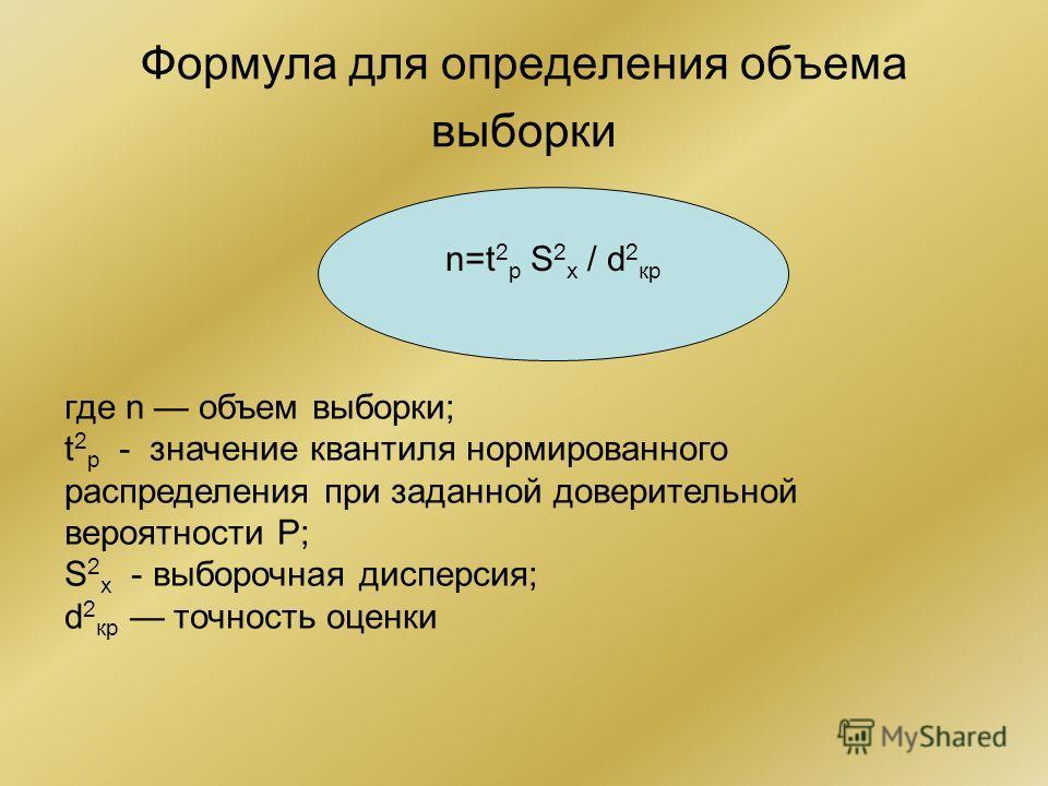 Формула для определения объема выборки где n объем выборки; t 2 р - значение квантиля нормированного распределения при заданной доверительной вероятности Р; S 2 х - выборочная дисперсия; d 2 кр точность оценки n=t 2 р S 2 х / d 2 кр