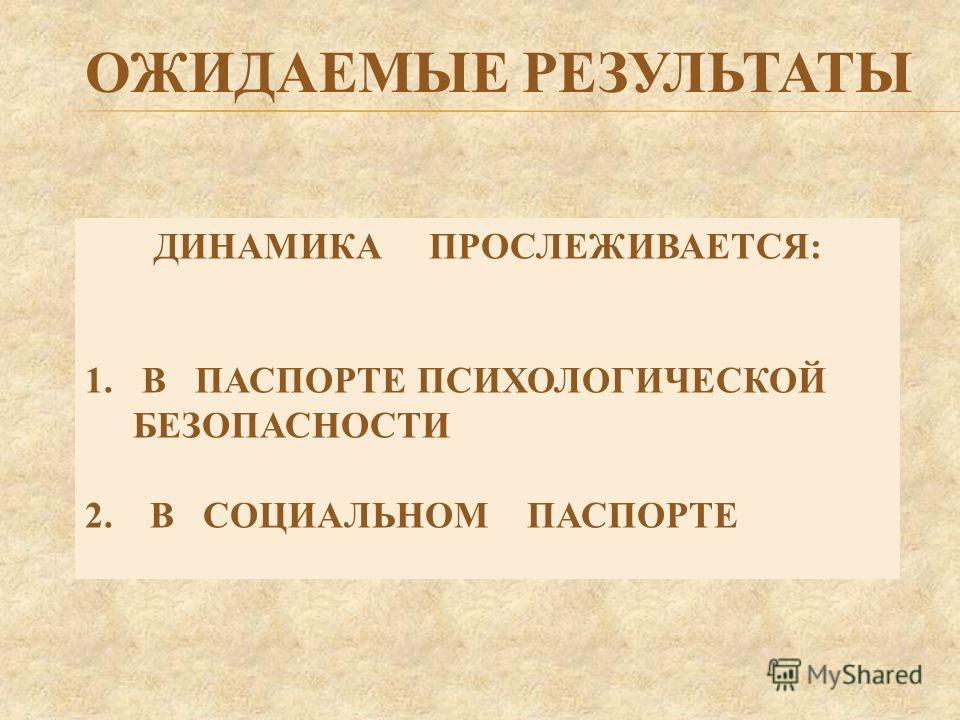 ОЖИДАЕМЫЕ РЕЗУЛЬТАТЫ ДИНАМИКА ПРОСЛЕЖИВАЕТСЯ: 1. В ПАСПОРТЕ ПСИХОЛОГИЧЕСКОЙ БЕЗОПАСНОСТИ 2. В СОЦИАЛЬНОМ ПАСПОРТЕ