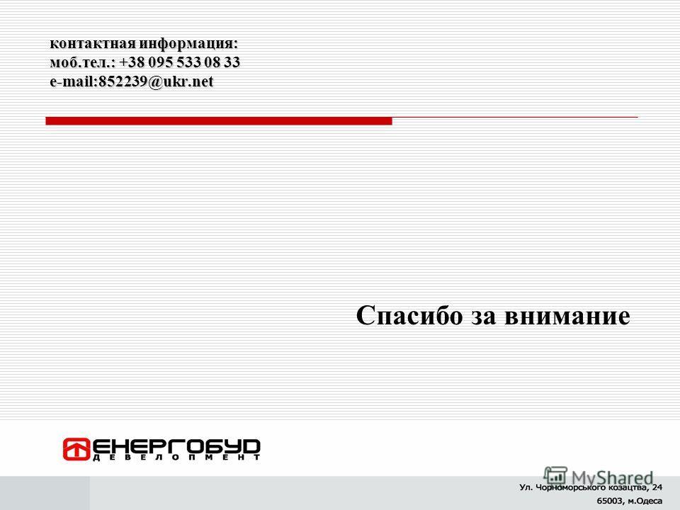 контактная информация: моб.тел.: +38 095 533 08 33 e-mail:852239@ukr.net Спасибо за внимание