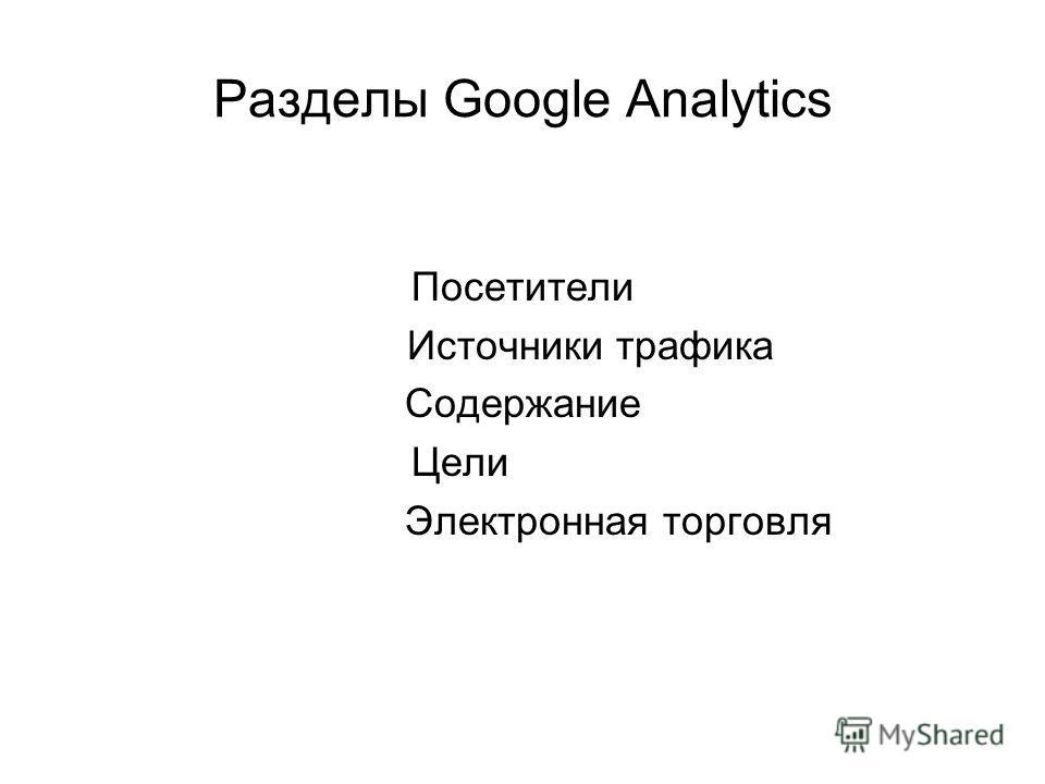 Разделы Google Analytics Посетители Источники трафика Содержание Цели Электронная торговля
