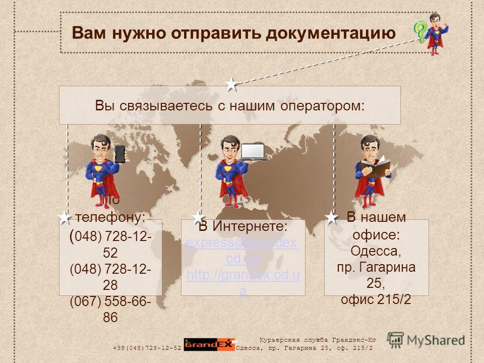 По телефону: ( 048) 728-12- 52 (048) 728-12- 28 (067) 558-66- 86 Вы связываетесь с нашим оператором: Вам нужно отправить документацию В Интернете: express@grandex. od.ua http://grandex.od.u a В нашем офисе: Одесса, пр. Гагарина 25, офис 215/2 Курьерс
