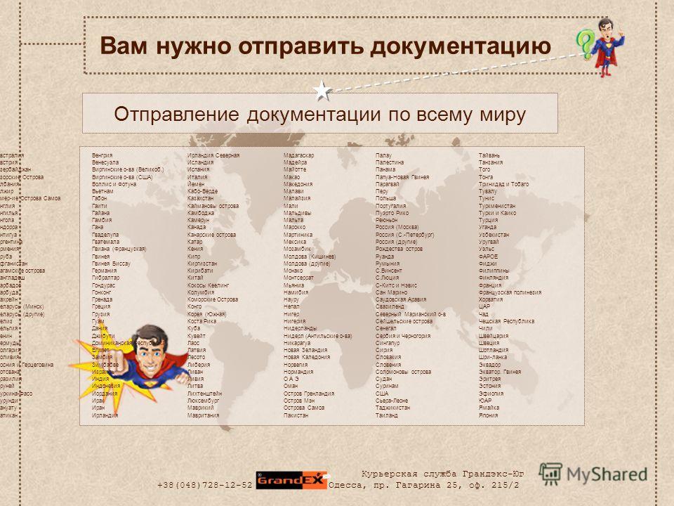 Отправление документации по всему миру Вам нужно отправить документацию Австралия Австрия Азербайджан Азорские Острова Албания Алжир Амер-ие Острова Самоа Англия Ангилья Ангола Андорра Антигуа Аргентина Армения Аруба Афганистан Багамские острова Банг