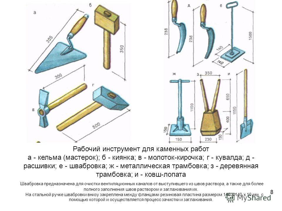 Рабочий инструмент для каменных работ а - кельма (мастерок); б - киянка; в - молоток-кирочка; г - кувалда; д - расшивки; е - швабровка; ж - металлическая трамбовка; з - деревянная трамбовка; и - ковш-лопата Швабровка предназначена для очистки вентиля