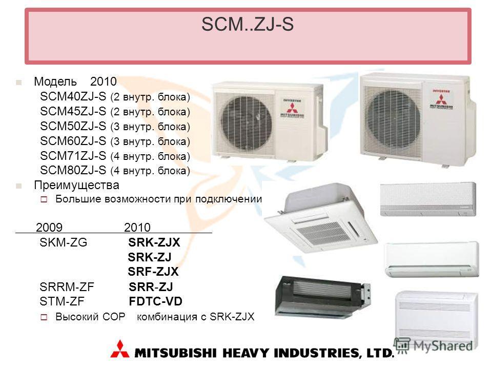 SCM..ZJ-S Модель 2010 SCM40ZJ-S (2 внутр. блока) SCM45ZJ-S (2 внутр. блока) SCM50ZJ-S (3 внутр. блока) SCM60ZJ-S (3 внутр. блока) SCM71ZJ-S (4 внутр. блока) SCM80ZJ-S (4 внутр. блока) Преимущества Большие возможности при подключении 2009 2010 SKM ZG