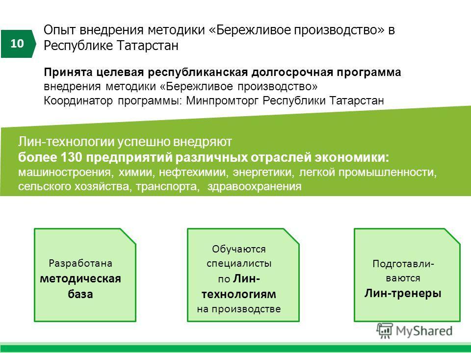 Опыт внедрения методики «Бережливое производство» в Республике Татарстан 10 Лин-технологии успешно внедряют более 130 предприятий различных отраслей экономики: машиностроения, химии, нефтехимии, энергетики, легкой промышленности, сельского хозяйства,