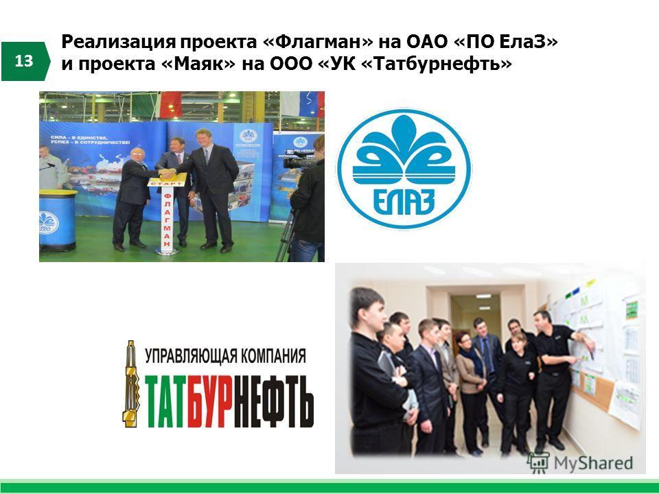 Реализация проекта «Флагман» на ОАО «ПО ЕлаЗ» и проекта «Маяк» на ООО «УК «Татбурнефть» 13