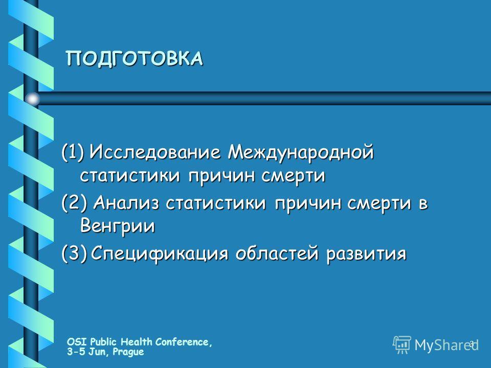 OSI Public Health Conference, 3-5 Jun, Prague 3 ПОДГОТОВКА (1) Исследование Международной статистики причин смерти (2) Анализ статистики причин смерти в Венгрии (3) Спецификация областей развития