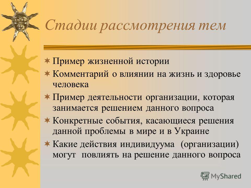 Стадии рассмотрения тем Пример жизненной истории Комментарий о влиянии на жизнь и здоровье человека Пример деятельности организации, которая занимается решением данного вопроса Конкретные события, касающиеся решения данной проблемы в мире и в Украине