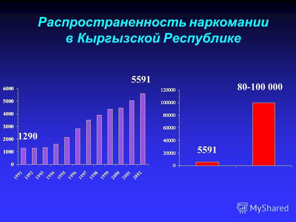 Распространенность наркомании в Кыргызской Республике 5591 80-100 000 1290 5591