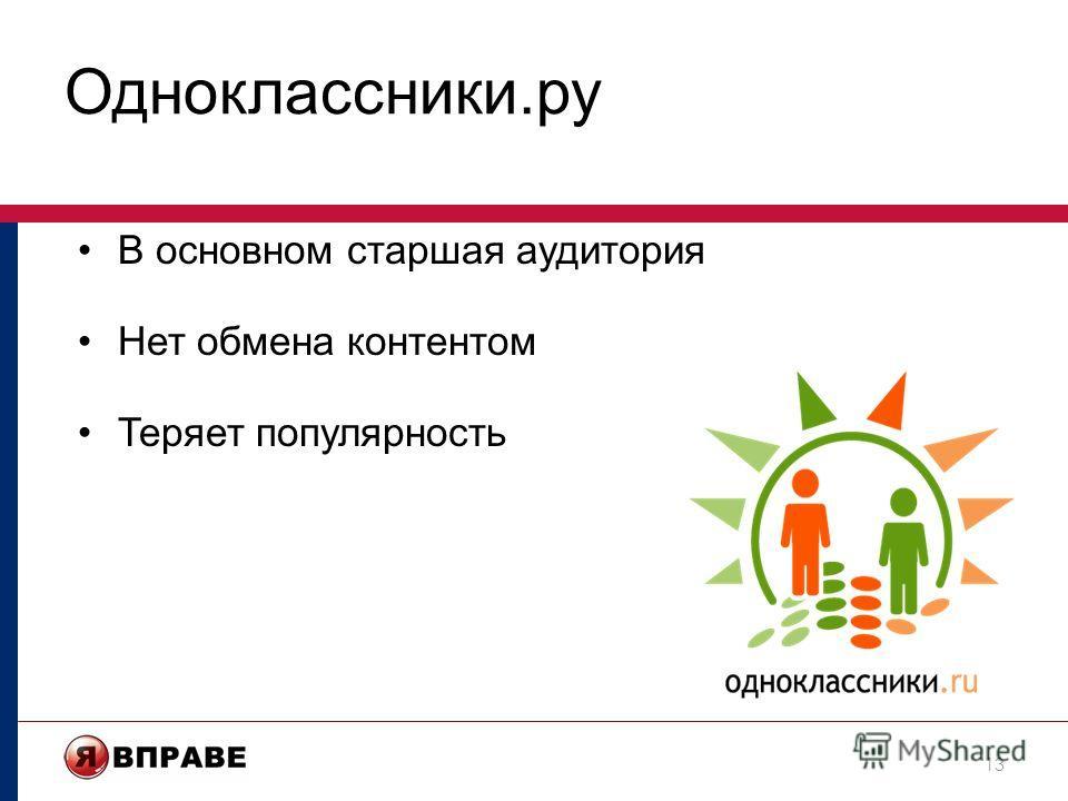Одноклассники.ру В основном старшая аудитория Нет обмена контентом Теряет популярность 13