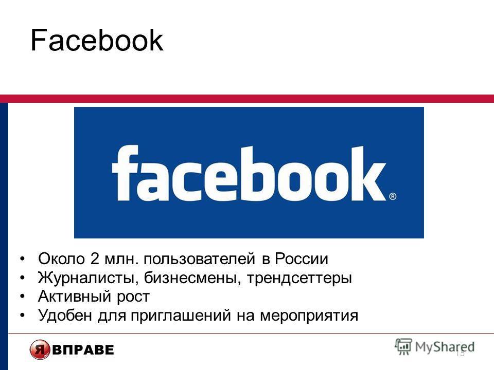 Facebook 15 Около 2 млн. пользователей в России Журналисты, бизнесмены, трендсеттеры Активный рост Удобен для приглашений на мероприятия