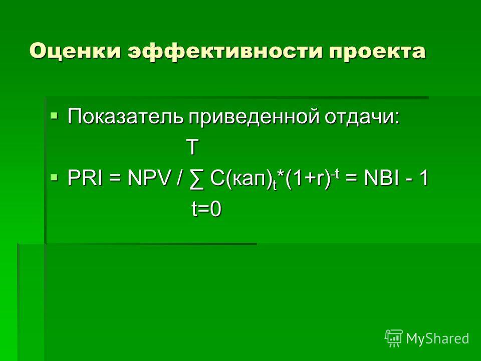 Показатель приведенной отдачи: Показатель приведенной отдачи: T T PRI = NPV / C(кап) t *(1+r) -t = NBI - 1 PRI = NPV / C(кап) t *(1+r) -t = NBI - 1 t=0 t=0 Оценки эффективности проекта