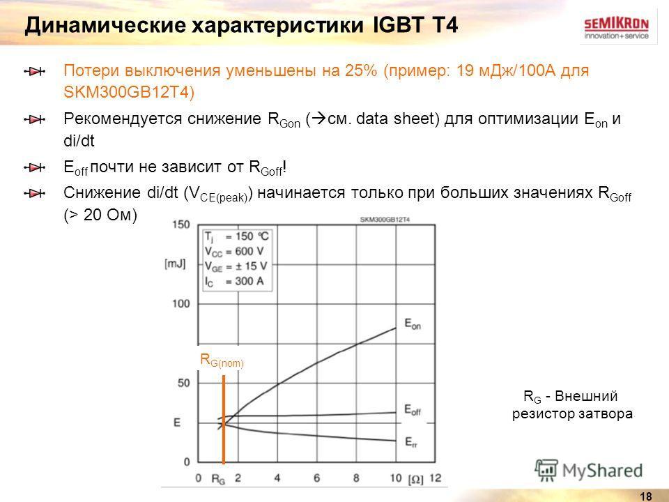 18 Динамические характеристики IGBT T4 Потери выключения уменьшены на 25% (пример: 19 мДж/100A для SKM300GB12T4) Рекомендуется снижение R Gon ( см. data sheet) для оптимизации E on и di/dt E off почти не зависит от R Goff ! Снижение di/dt (V CE(peak)