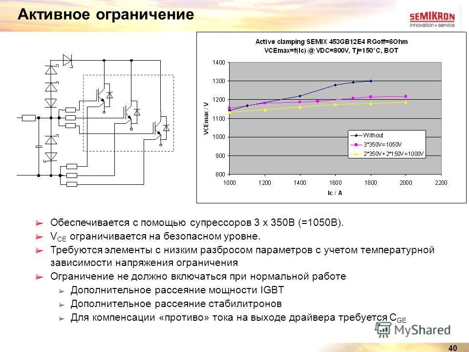 40 Активное ограничение Обеспечивается с помощью супрессоров 3 x 350В (=1050В). V CE ограничивается на безопасном уровне. Требуются элементы с низким разбросом параметров с учетом температурной зависимости напряжения ограничения Ограничение не должно