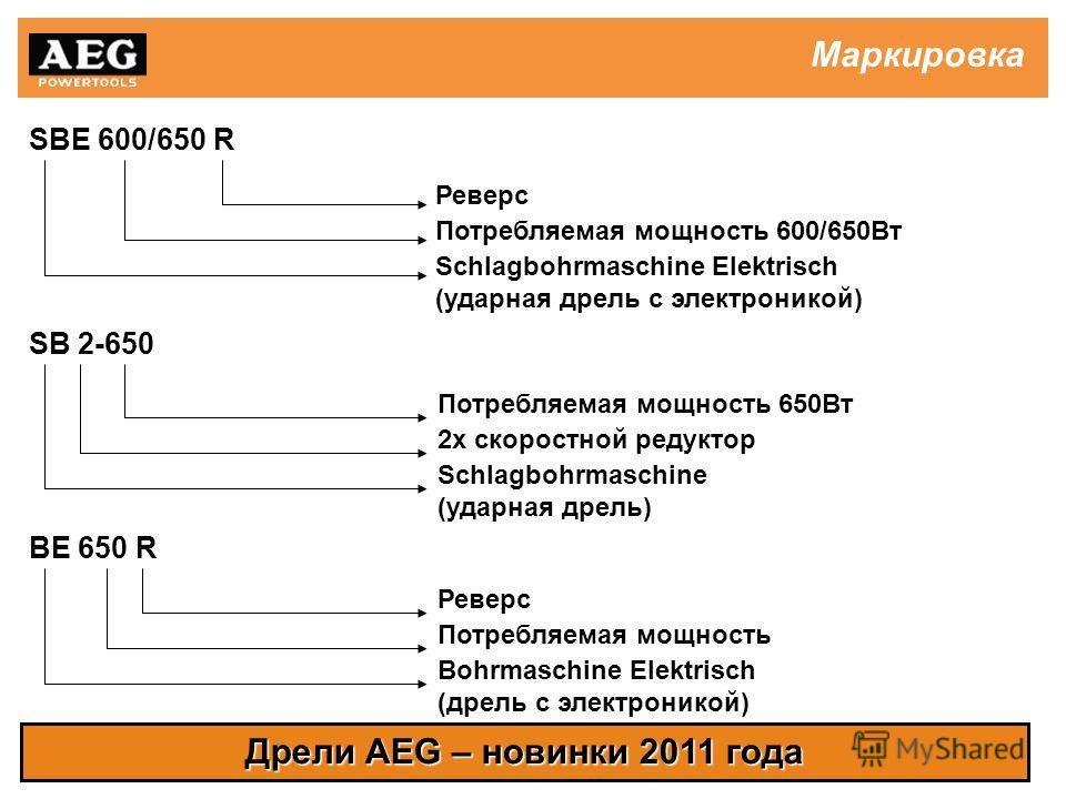 Дрели AEG – новинки 2011 года Маркировка SBE 600/650 R SB 2-650 BE 650 R Реверс Потребляемая мощность 600/650Вт Schlagbohrmaschine Elektrisch (ударная дрель с электроникой) Потребляемая мощность 650Вт Schlagbohrmaschine (ударная дрель) 2х скоростной