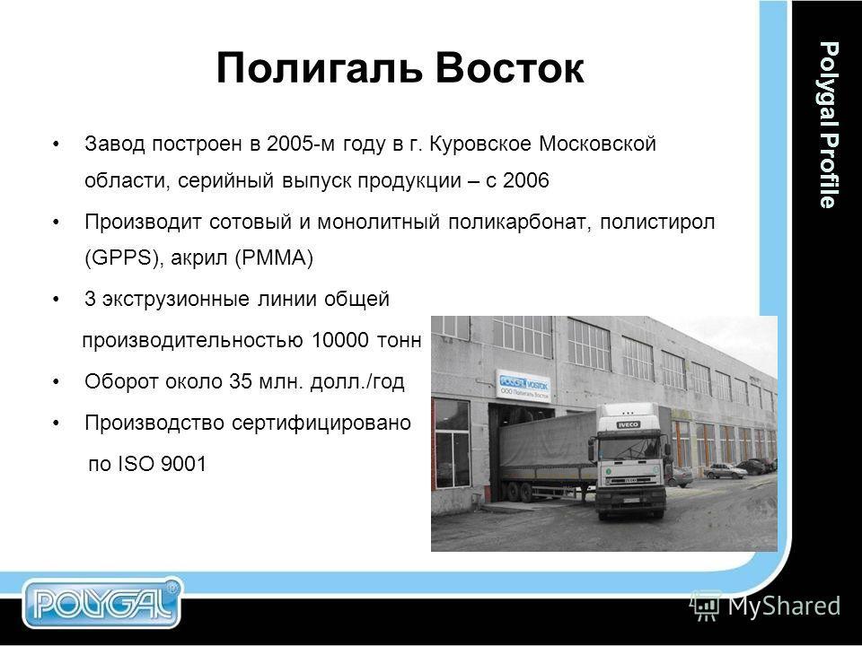 Полигаль Восток Завод построен в 2005-м году в г. Куровское Московской области, серийный выпуск продукции – с 2006 Производит сотовый и монолитный поликарбонат, полистирол (GPPS), акрил (PMMA) 3 экструзионные линии общей производительностью 10000 тон