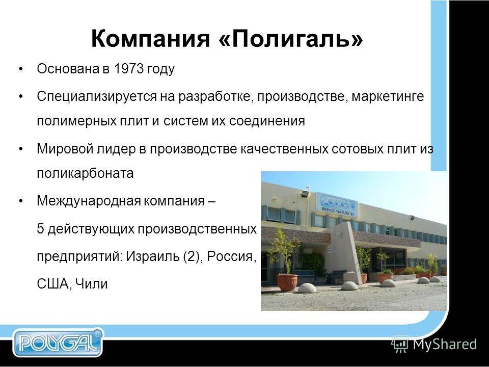 Компания «Полигаль» Основана в 1973 году Специализируется на разработке, производстве, маркетинге полимерных плит и систем их соединения Мировой лидер в производстве качественных сотовых плит из поликарбоната Международная компания – 5 действующих пр