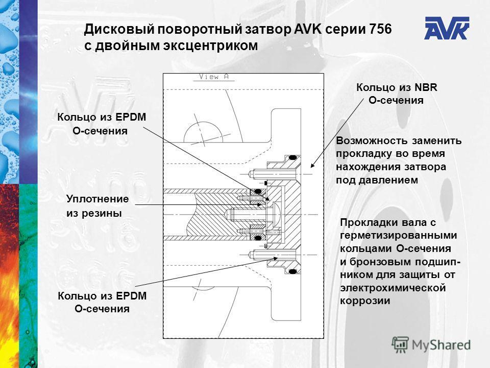 Кольцо из NBR O-сечения Возможность заменить прокладку во время нахождения затвора под давлением Кольцо из EPDM O-сечения Прокладки вала с герметизированными кольцами О-сечения и бронзовым подшип- ником для защиты от электрохимической коррозии Уплотн