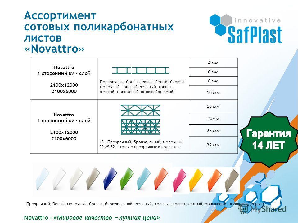 Novattro 1 сторонний uv - слой 2100х12000 2100х6000 Прозрачный, бронза, синий, белый, бирюза, молочный, красный, зеленый, гранат, желтый, оранжевый, полишейд(серый). 4 мм 6 мм 8 мм 10 мм Novattro 1 сторонний uv - слой 2100х12000 2100х6000 16 - Прозра