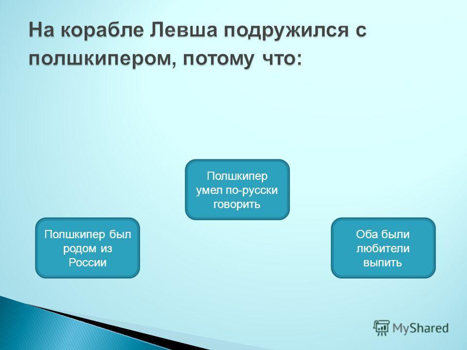 Полшкипер умел по-русски говорить Полшкипер был родом из России Оба были любители выпить