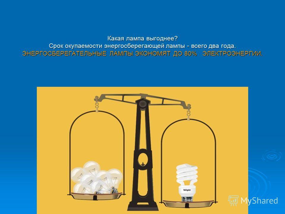 Какая лампа выгоднее? Срок окупаемости энергосберегающей лампы - всего два года. ЭНЕРГОСБЕРЕГАТЕЛЬНЫЕ ЛАМПЫ ЭКОНОМЯТ ДО 80% ЭЛЕКТРОЭНЕРГИИ.