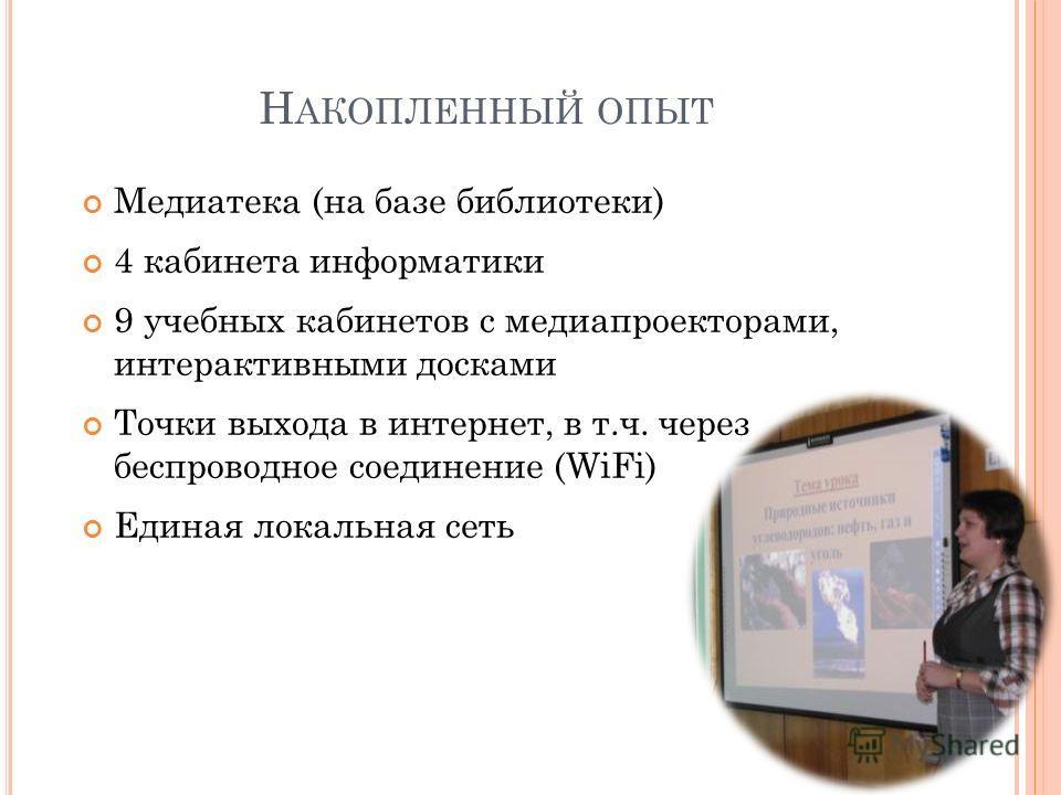 Н АКОПЛЕННЫЙ ОПЫТ Медиатека (на базе библиотеки) 4 кабинета информатики 9 учебных кабинетов с медиапроекторами, интерактивными досками Точки выхода в интернет, в т.ч. через беспроводное соединение (WiFi) Единая локальная сеть