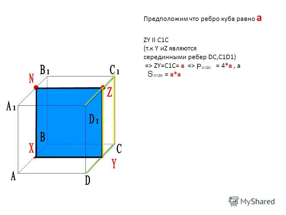 Предположим что ребро куба равно а ZY II C1C (т.к Y иZ являются серединными ребер DC,C1D1) => ZY=C1C= а => = 4*а, а = а*а